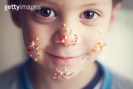 Child with colorful sugar sprinkles - gettyimageskorea