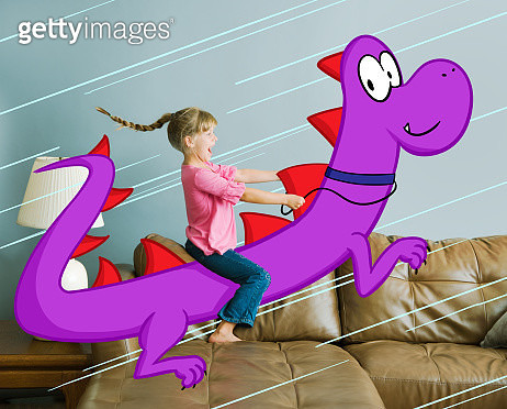 7 year old girl riding on back of illustrated dragon in domestic living room - gettyimageskorea