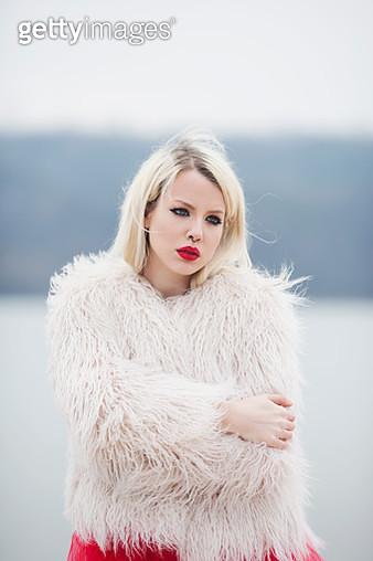 Portrait of a blond woman - gettyimageskorea