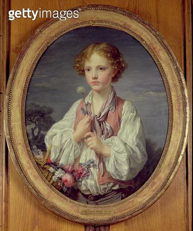 <b>Title</b> : Young Boy with a Basket of Flowers (oil on canvas)Additional InfoJeune Garcon au Panier de Fleurs;<br><b>Medium</b> : <br><b>Location</b> : Musee de la Ville de Paris, Musee du Petit-Palais, France<br> - gettyimageskorea
