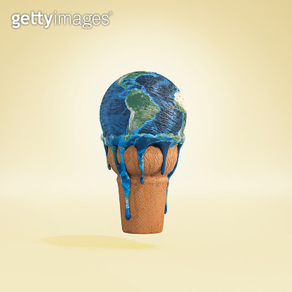 Melting earth ice cream cone - gettyimageskorea