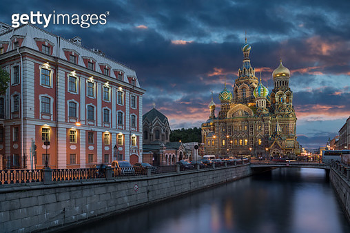 Church of the Savior on Blood at sunset in St. Petersburg - gettyimageskorea