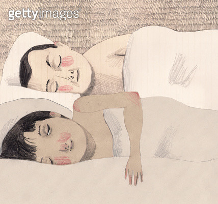 Illustration of girl and boy sleeping on bed - gettyimageskorea