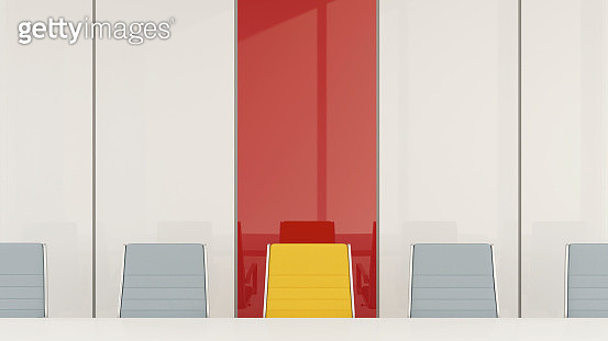 Conference room with one chair standing out from the crowd, 3d rendering - gettyimageskorea