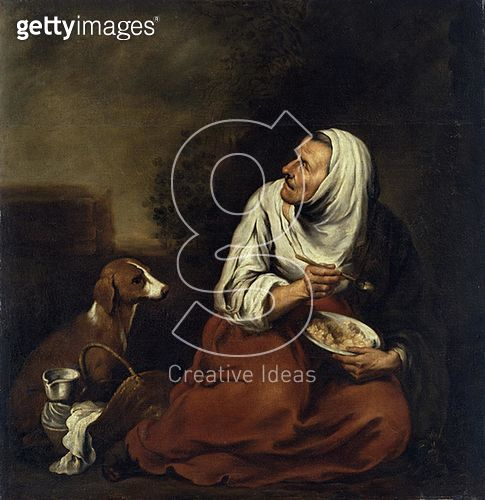 <b>Title</b> : Old Woman with Dog (oil on canvas) (see also 160057)<br><b>Medium</b> : oil on canvas<br><b>Location</b> : Hamburger Kunsthalle, Hamburg, Germany<br> - gettyimageskorea