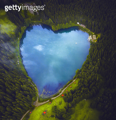 Beautiful heart shaped lake and forest - gettyimageskorea