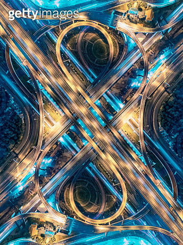 Road beautiful Aerial View of Busy Intersection at Night , top view , thailand . - gettyimageskorea