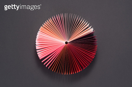 Gradient Colored Book Pages Pie Chart Directly Above View. - gettyimageskorea