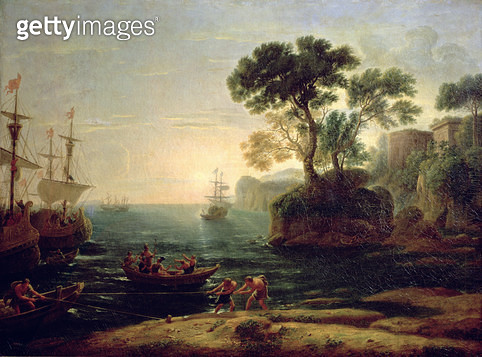 <b>Title</b> : Arrival of Aeneas in Italy, the Dawn of the Roman Empire (oil on canvas)<br><b>Medium</b> : oil on canvas<br><b>Location</b> : Pushkin Museum, Moscow, Russia<br> - gettyimageskorea