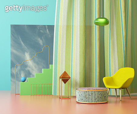 Living room in mid-century style with abstract shapes - gettyimageskorea