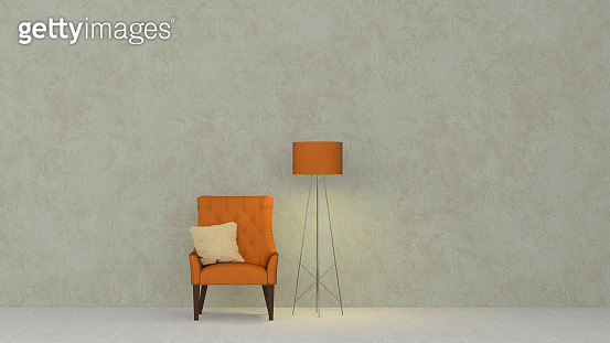 3D rendering, Yellow armchair and floor lamp against marbled wall - gettyimageskorea
