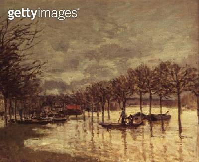 <b>Title</b> : Flooding on the Road to Saint Germain, 1876<br><b>Medium</b> : oil on canvas<br><b>Location</b> : Private Collection<br> - gettyimageskorea