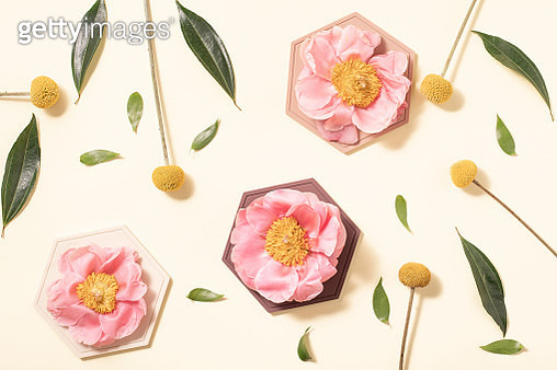 Summer concept. Flatlay, top view. Creative layout with flowers on yellow background. - gettyimageskorea