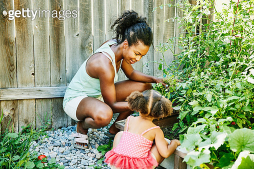 Smiling mother and young daughter tending to plant beds in backyard garden - gettyimageskorea