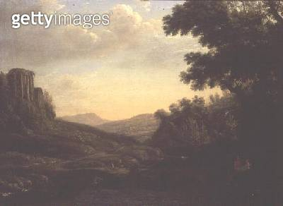 <b>Title</b> : Extensive Wooded Landscape with Ruined Temple (oil on canvas)<br><b>Medium</b> : oil on canvas<br><b>Location</b> : Private Collection<br> - gettyimageskorea