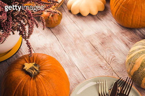 High angle view of pumpkins on table - gettyimageskorea
