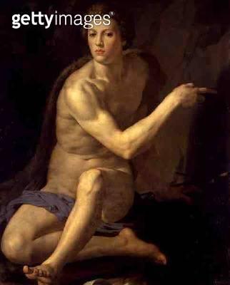 <b>Title</b> : Saint John the Baptist (oil on panel)<br><b>Medium</b> : oil on panel<br><b>Location</b> : Galleria Borghese, Rome, Italy<br> - gettyimageskorea