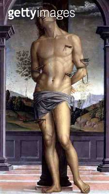 <b>Title</b> : Saint Sebastian (oil on panel)<br><b>Medium</b> : oil on panel<br><b>Location</b> : Galleria Borghese, Rome, Italy<br> - gettyimageskorea