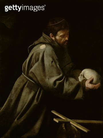 <b>Title</b> : Saint Francis in Meditation (oil on canvas)<br><b>Medium</b> : oil on canvas<br><b>Location</b> : Palazzo Barberini, Rome, Italy<br> - gettyimageskorea