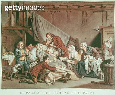 <b>Title</b> : The Paralytic Man Helped by his Children, engraved by Alix, c.1800 (coloured engraving)Additional Infole paralytique servi par s<br><b>Medium</b> : <br><b>Location</b> : Bibliotheque Nationale, Paris, France<br> - gettyimageskorea