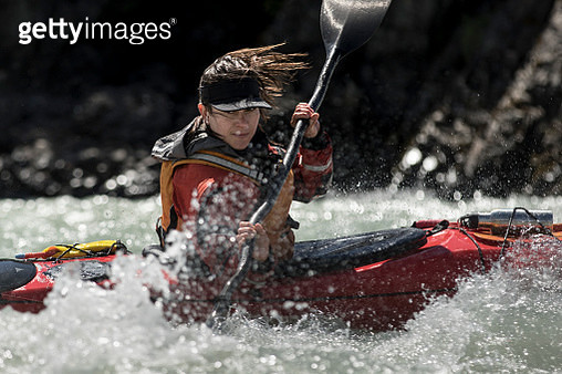 Female kayaker in Chilean Patagonia - gettyimageskorea