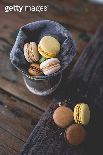 Different macarons and chocolate shaving - gettyimageskorea