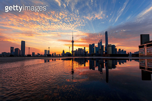 Shanghai sunrise at bund with skyline from Pudong - gettyimageskorea