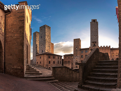 Inside the old Italian town early at morning - gettyimageskorea