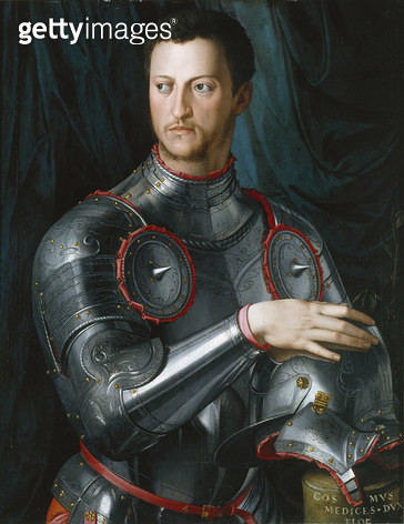 <b>Title</b> : Duke Cosimo I (1519-74) de' Medici in Armour, 1540s (oil on panel)<br><b>Medium</b> : oil on panel<br><b>Location</b> : Art Gallery of New South Wales, Sydney, Australia<br> - gettyimageskorea