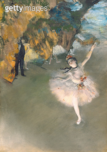 <b>Title</b> : The Star, or Dancer on the stage, c.1876-77 (pastel on paper)<br><b>Medium</b> : pastel on paper<br><b>Location</b> : Musee d'Orsay, Paris, France<br> - gettyimageskorea