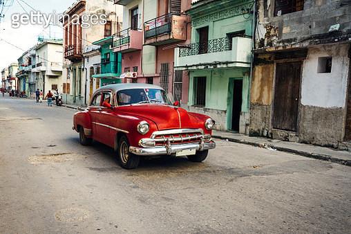 Old car driving in a street of Havana. Cuba. - gettyimageskorea