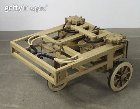 <b>Title</b> : Reconstruction of da Vinci's design for an automobile (wood)<br><b>Medium</b> : <br><b>Location</b> : Istituto e Museo di Storia della Scienza, Florence, Italy<br> - gettyimageskorea