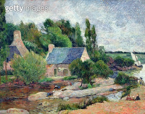 <b>Title</b> : Washerwomen at Pont-Aven, 1886 (oil on canvas)<br><b>Medium</b> : oil on canvas<br><b>Location</b> : Musee d'Orsay, Paris, France<br> - gettyimageskorea