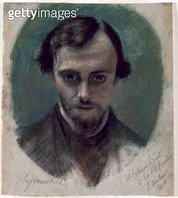 <b>Title</b> : Portrait of Dante Gabriel Rossetti (1828-82) 1853 (pastel and coloured chalks on paper)Additional Infoone of a group of drawings<br><b>Medium</b> : pastel and coloured chalks on paper<br><b>Location</b> : Manchester Art Gallery, UK<br> - gettyimageskorea
