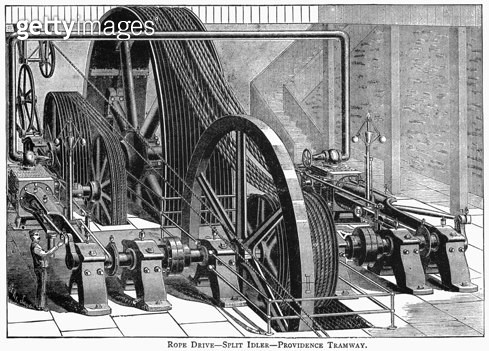 PROVIDENCE TRAMWAY MACHINE. /nA Henry Lane rope-driven driver used to power the Providence Tramway in Providence, Rhode Island. Line engraving, late 19th or early 20th century. - gettyimageskorea