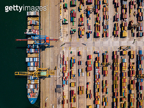 Aerial view of cargo ship, cargo container in warehouse harbor at Valencia - gettyimageskorea