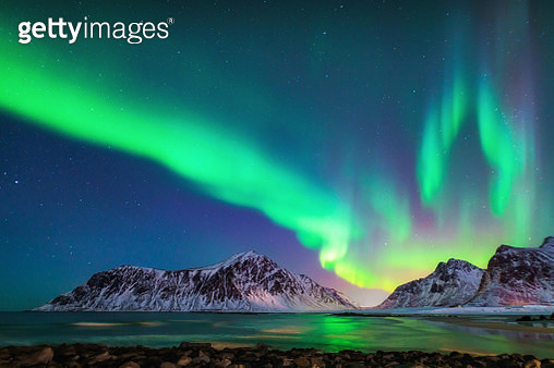Mixed colorful aurora borealis dancing in the sky - gettyimageskorea