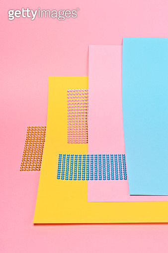 Glitter Stickers on Pink Blue and Yellow - gettyimageskorea
