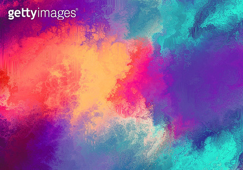 Colorful fluid acrylic painting on blue and yellow - gettyimageskorea