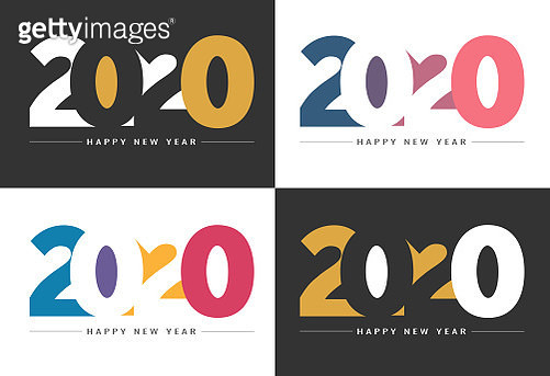 Abstract gradient Happy New Year 2020 Backgrounds for your Christmas. EPS 10 vector illustration, contains transparencies. High resolution jpeg file included. - gettyimageskorea