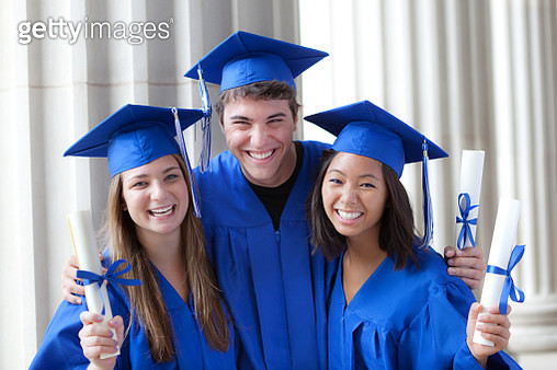 Young Teenage group Graduation Portrait in School - gettyimageskorea