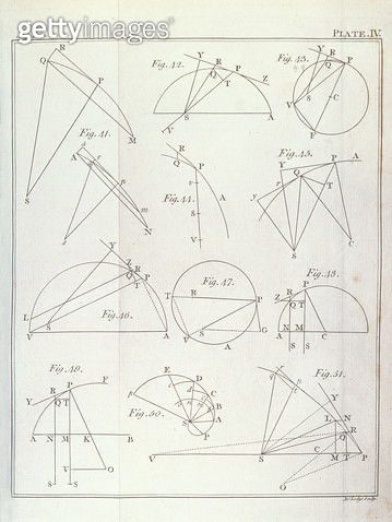 <b>Title</b> : Plate IV, Illustrating Proposition X Problem V from Volume I of 'The Mathematical Principles of Natural Philosophy' by Sir Isaac Newton (1642-1727) engraved by John Lodge (fl.1782) 1777 (engraving) (see 136312)<br><b>Medium</b> : engraving< - gettyimageskorea