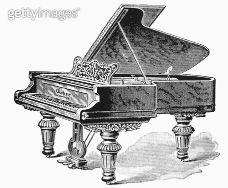 PIANO. /nWeber grand piano. Wood engraving, American, late 19th century. - gettyimageskorea