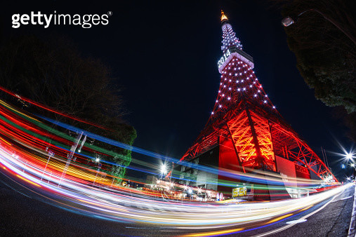 Tokyo tower with traffic lights - gettyimageskorea