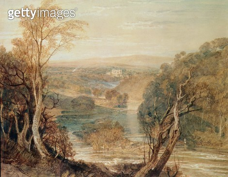 <b>Title</b> : The River Wharfe with a distant view of Barden Tower<br><b>Medium</b> : <br><b>Location</b> : Private Collection<br> - gettyimageskorea