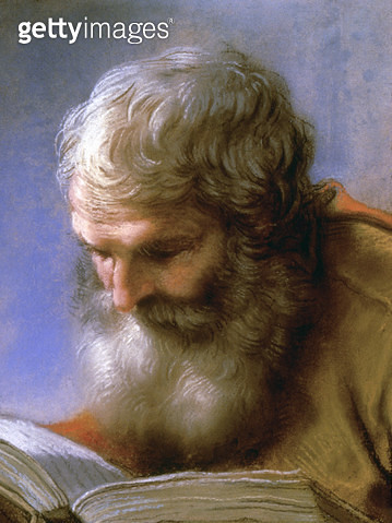 LUTI: APOSTLE READING. /n'The Head of An Apostle Reading.' Pastel on paper by Benedetto Luti, c1710. - gettyimageskorea