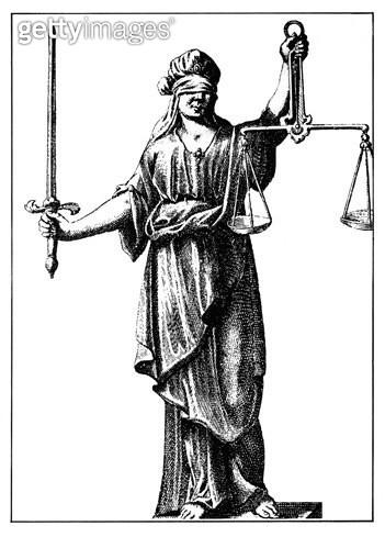 ALLEGORY: JUSTICE, 1726. /nLine engraving (detail), German. - gettyimageskorea