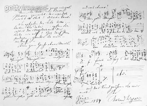 WAGNER: DAS RHEINGOLD. /nAutograph manuscript by Richard Wagner with musical notation from his opera 'Das Rheingold,' Zurich, 16 January 1854. - gettyimageskorea
