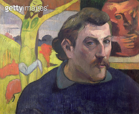 <b>Title</b> : Self Portrait with the Yellow Christ, 1889 (oil on canvas)<br><b>Medium</b> : oil on canvas<br><b>Location</b> : Musee d'Orsay, Paris, France<br> - gettyimageskorea