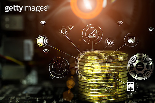 Cryptocurrency and Business continuity line image for business concept. - gettyimageskorea